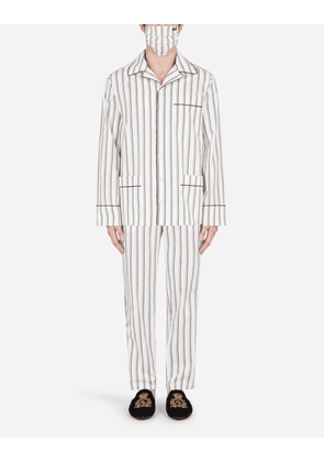 Dolce & Gabbana Loungewear Collection - Double-stripe pajama set with matching face mask WHITE male 56