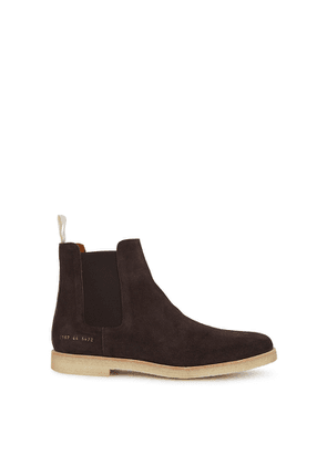 Common Projects Brown Brushed Suede Chelsea Boots