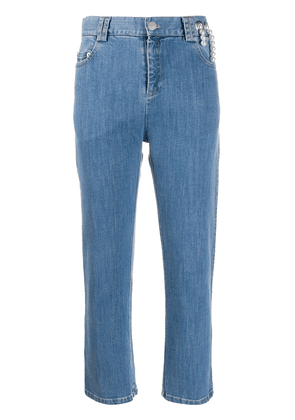 Act N°1 mid rise cropped embellished jeans - Blue