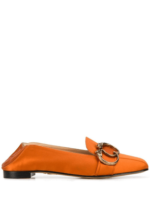 Charlotte Olympia collapsible heel satin loafers - Orange