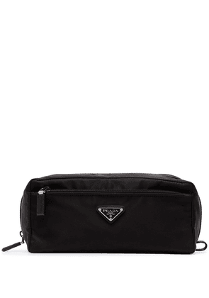 Prada logo nylon wash bag - Black