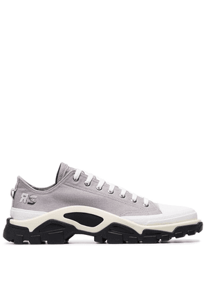 adidas by Raf Simons Grey Detroit Runner contrast sole low-top cotton sneakers