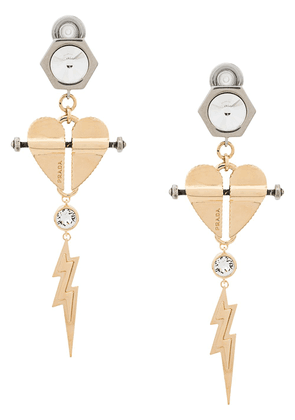 Prada heart and lightning earrings - Gold