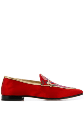 Fabi floral embroidery loafers - Red