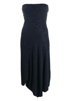 Donna Karan asymmetric strapless dress - Blue