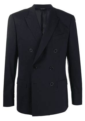 Dolce & Gabbana metallic button double-breasted suit jacket - Blue
