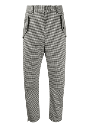 Brag-wette checked straight trousers - Black