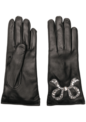 Gucci leather gloves with bow - Black