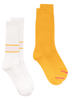 ANONYMOUS ISM pack of two ribbed socks set - White