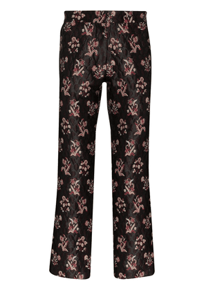 Edward Crutchley embroidered Damask print trousers - Brown