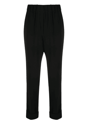 Brag-wette high-waisted tapered trousers - Black