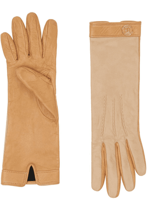 Burberry silk-lined two-tone lambskin gloves - Stone