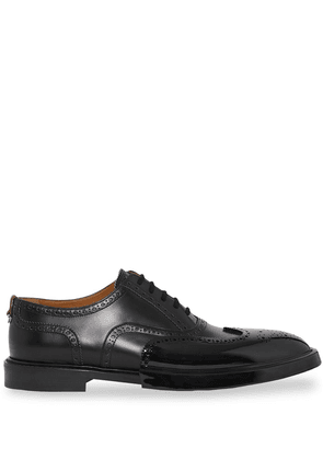 Burberry Toe Cap Detail Leather Oxford Brogues - Black