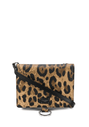 Dolce & Gabbana leopard print shoulder bag - Brown