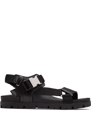 Prada leather and woven tape sandals - Black