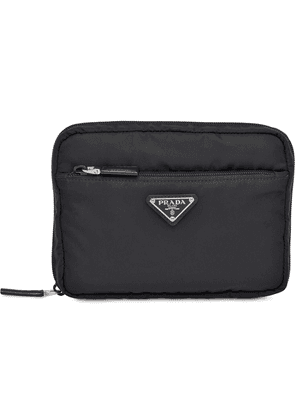 Prada logo plaque travel pouch - Black