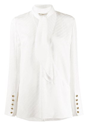 Givenchy neck tie striped blouse - White