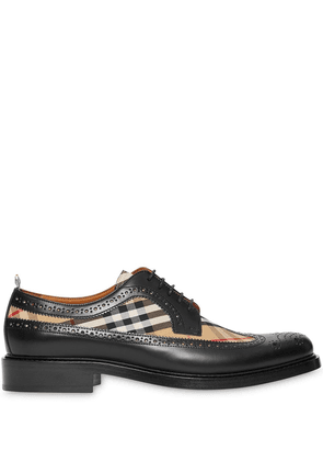 Burberry Brogue Detail Leather and Vintage Check Derby Shoes - Black