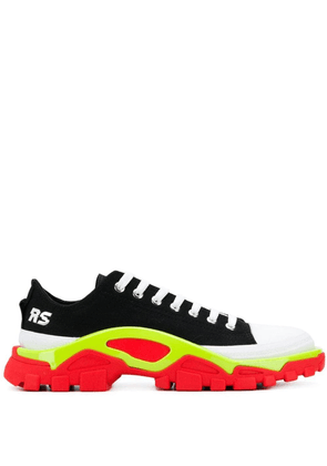 adidas by Raf Simons Black Detroit Runner contrast sole low-top cotton sneakers - CBLACK/SILVMT/SSLIME