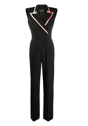 Dolce & Gabbana contrasting trim double-breasted jumpsuit - Black