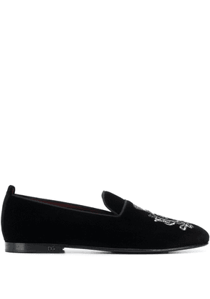 Dolce & Gabbana crest bead embroidered loafers - Black