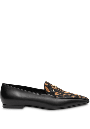Burberry leopard print detail loafers - Black