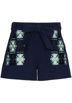 Figue Leah embroidered tie-waist shorts - Blue