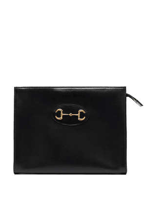 Gucci horsebit-embellished leather pouch - Black