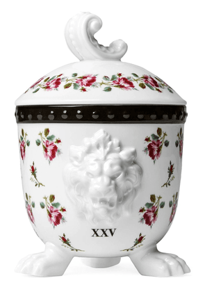 Gucci Mehen, rose print lion candle - White
