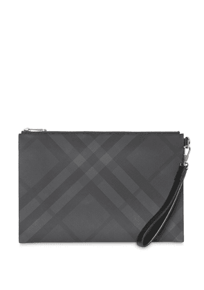 Burberry London Check and Leather Zip Pouch - Grey