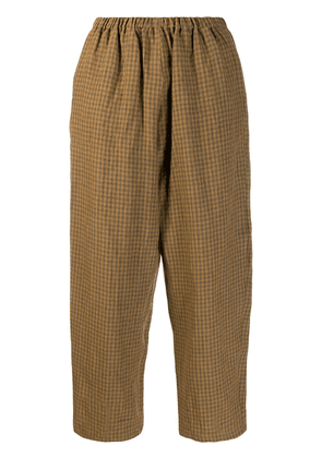 Apuntob cropped checked trousers - Brown