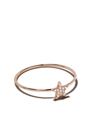 Ef Collection 14kt rose gold mini diamond star stack ring - 107069