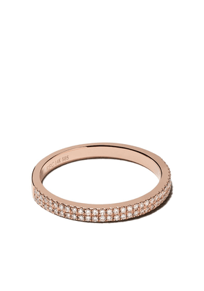Ef Collection 14kt rose gold double diamond eternity band ring - 14k Rose Gold ()