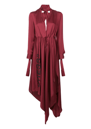 Off-White asymmetric plunge-neck dress - Red