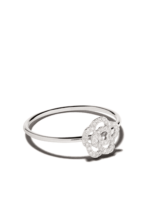 Ef Collection 14kt white gold diamond rose stack ring - 101190