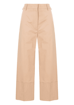Cédric Charlier cropped side panel trousers - Brown