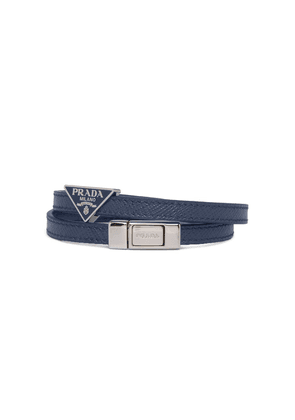 Prada braided logo plaque bracelet - Blue