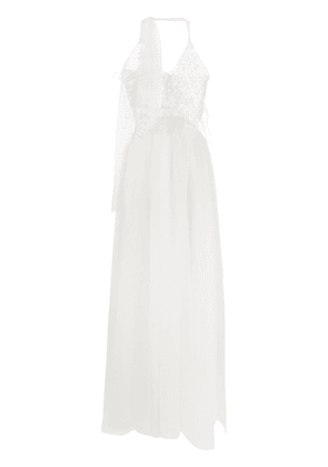 Loulou floral embroidery bridal dress - White