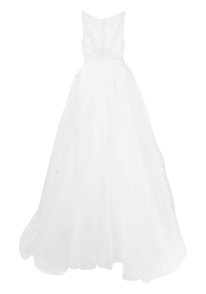 Loulou embellished sheer top bridal dress - White