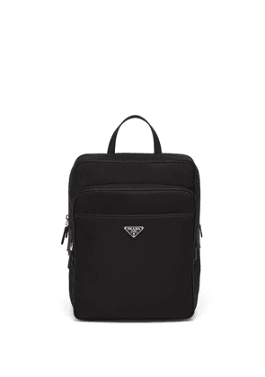 Prada logo plaque backpack - Black