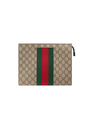 Gucci Web GG Supreme wash bag - Brown
