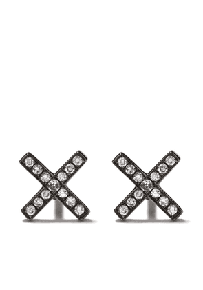 Ef Collection 14kt black gold X diamond stud earrings - Ohne Farbe(000)