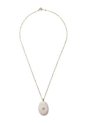 Cvc Stones EID white pebble stone and diamond pendant necklace - Gold
