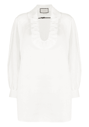 Gucci ruffled neck blouse - White