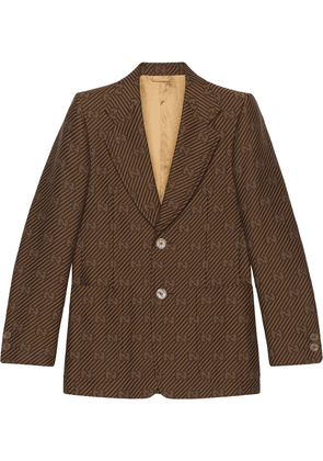 Gucci GG single-breasted blazer jacket - Brown