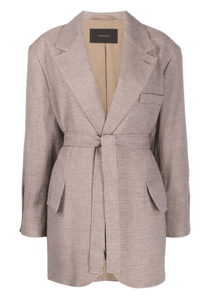Frenken micro-check wrap jacket - Neutrals