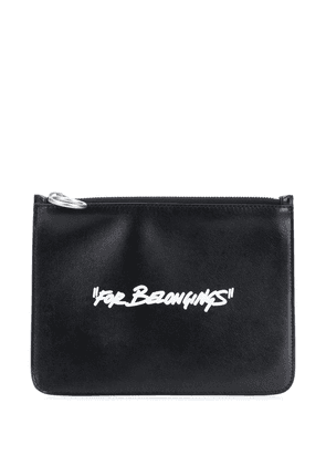 Off-White Quote-motif flat pouch - Black