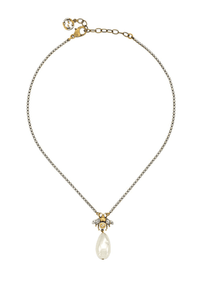 Gucci bee drop pearl charm necklace - SILVER