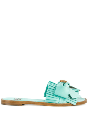 Fausto Puglisi pleated bow flip-flops - Blue