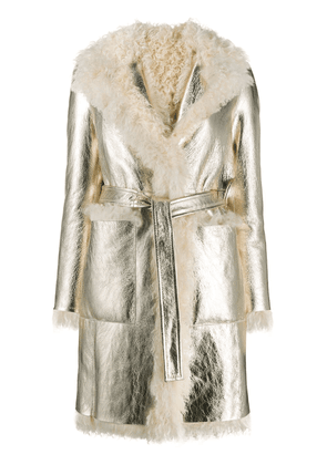 Blancha shearling belted coat - White